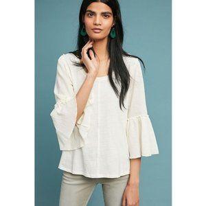 anthropologie bordeaux white bell-sleeved top